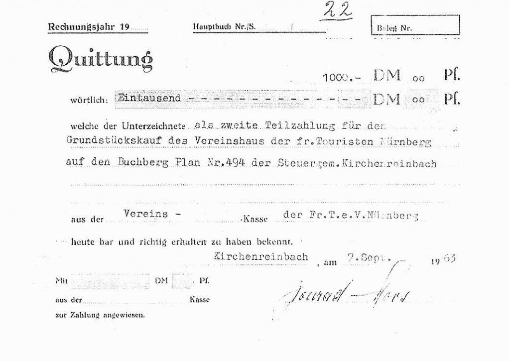 Kaufquittung Grundstück Buchberghaus Kirchenreinbach